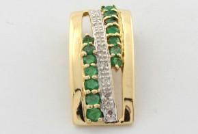 Висулка от жълто злато с диаманти и изумруди VE872