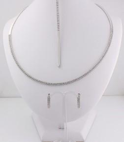 Комплект от бяло злато с циркони K0039