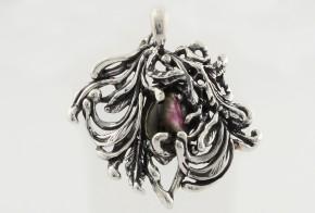 Сребърен медальон с цветен турмалин CSD0013
