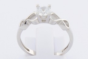 Годежен пръстен от бяло злато с циркон GD0090