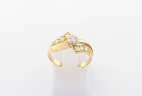 Годежен пръстен oт  жълто злато с циркон GD0173