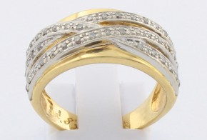 Дамски пръстен от бяло и жълто злато с диаманти D830