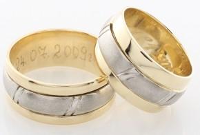 Брачни халки от бяло и жълто злато BH0163