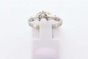 Годежен пръстен от бяло  злато с диамант D3062