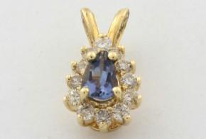 Висулка от жълто злато с диаманти и сапфир VE878