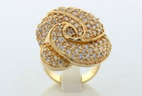 Дамски пръстен от жълто злато във формата на роза с циркони  DD0009
