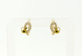 Детски златни обеци от жълто злато с циркони OBD0030