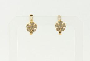 Детски златни обеци от жълто злато с циркони OBD0022