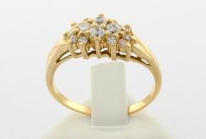 Дамски пръстен от жълто злато с циркони DD0033