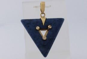 Златна висулка с лапис лазурит и диаманти V300