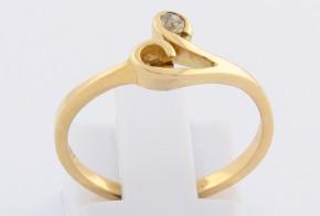 Годежен пръстен от жълто злато с диамант D886