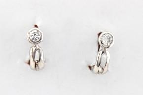 Дамски обеци от бяло злато с циркони -2,26  грама, дължина на обеците 15 мм., ширина 5  мм.