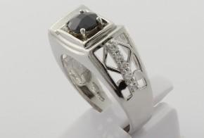 Мъжки сребърен пръстен с циркони SM0033