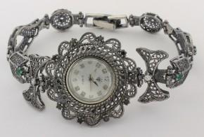 Дамски Сребърен часовник с циркони CH0016