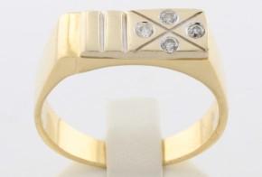 Мъжки пръстен от  бяло и жълто злато MD0030
