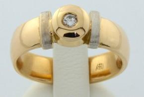 Дамски пръстен от бяло и жълто злато с диамант  D232