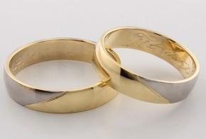 Брачни халки от бяло и жълто злато BH0122