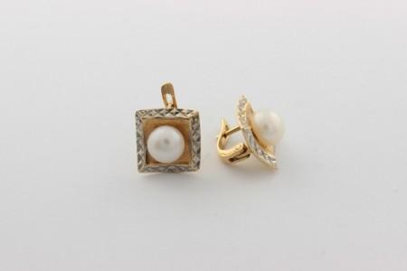 Златни обеци от бяло и жълто злато с перли-5,67