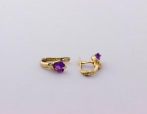 Обеци от жълто  злато с диаманти и аметисти сърце - 2,40  грама, диаманти - 2*0,012  carata