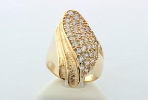 Дамски пръстен от жълто злато с циркони  DD0004