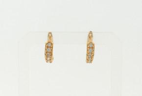 Златни обеци от жълто злато с циркони OB0176