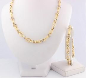 Комплект синджир и гривна от бяло и жълто злато K0047