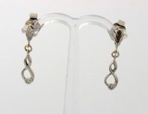 Обеци от бяло злато с диаманти О909