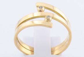 Дамски пръстен от жълто злато с диаманти D65