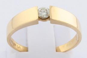 Годежен пръстен от жълто злато с диамант D2075