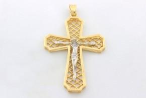 Златен кръст от бяло и жълто злато VK0001