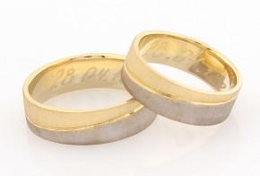 Брачни халки от бяло и жълто злато BH0288