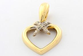 Висулка от бяло и жълто злато с диаманти VE864