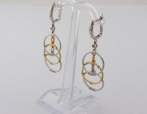 Обеци от бяло и  жълто  злато с диаманти - 4,88 грама, диаманти - 22*0.005 carata  + 2*0,010  carata