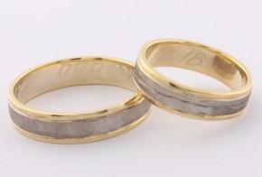 Брачни халки от бяло и жълто злато BH0326