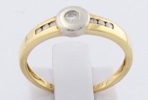 Дамски пръстен от бяло и жълто злато с диаманти D1182