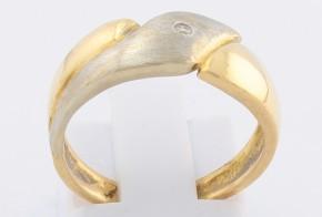 Дамски пръстен от бяло и жълто злато с диамант D73
