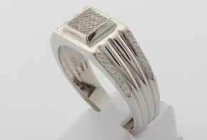 Мъжки сребърен пръстен с циркони SM0066