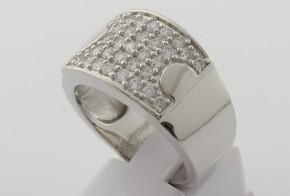 Мъжки сребърен пръстен с циркони SM0047