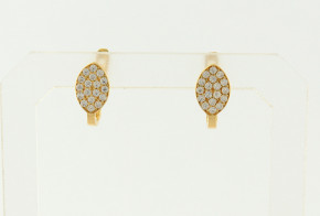 Детски златни обеци от жълто злато с циркони OBD0049
