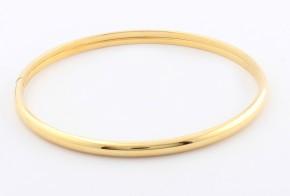 Детска твърда гривна елипса или кръг от жълто злато GR0121