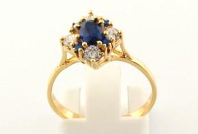 Дамски пръстен от жълто злато с циркони DD0088