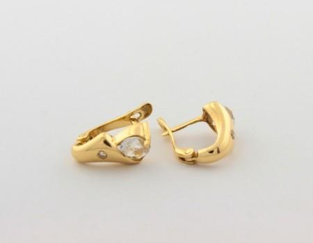 Обеци от жълто  злато с диаманти и аквамарини  - 3,10   грама, диаманти - 2*0,018 carata, сапфири - 2*0,48 ct