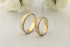 Брачни халки от бяло и жълто злато BH0268