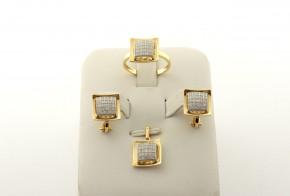 Комплект от жълто злато с циркони  К00114