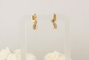 Златни обеци от жълто злато с циркони OB0078