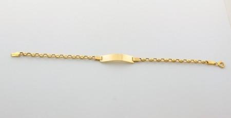 Детска гривна с плочка от жълто злато   -2,13 грама, 15 дължина,5-ширина