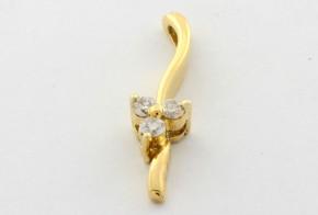 Висулка от жълто злато с диаманти  VE249