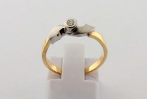 Годежен пръстен от бяло  и жълто злато с диамант D2156