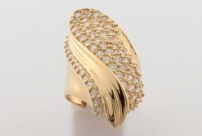 Дамски пръстен от жълто злато с циркони DD0140