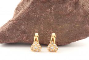 Златни обеци от жълто злато с циркони OB0183V